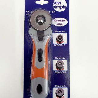 Sew Simple single 45mm rotary cutter with blade, Bright Quilting