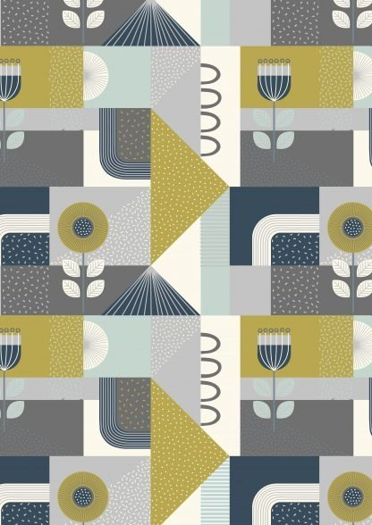 Lewis and Irene Forme Greys Soft Blue, Olive and Navy on White Fabric, Bright Quilting