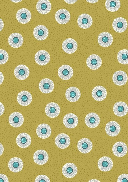 Lewis and Irene Forme Flower Dots on Olive Fabric, Bright Quilting