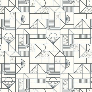 Lewis and Irene Forme All Over Geometric Navy on White Fabric, Bright Quilting