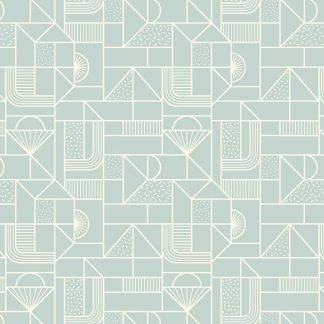 Lewis and Irene Forme All Over Geometric White on soft duck egg blue Fabric, Bright Quilting