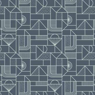 Lewis and Irene Forme All Over Geometric soft blue on Navy Fabric, Bright Quilting