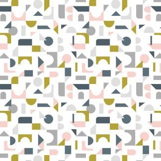 Lewis and Irene Forme Scattered Geo in Pink, Grey and Olive on White fabric, Bright Quilting