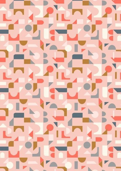 Lewis and Irene Forme Scattered Geo in Pink, White and Tan on Pale Pink Fabric, Bright Quilting