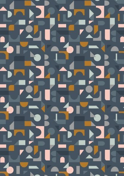 Lewis and Irene Forme Scattered Geo in Pink and Pale Blue on Dark Blue Fabric, Bright Quilting