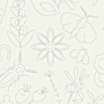 Alison Glass 2020 Sunprint Range Embroidery Lace, drawn designs in white, Bright Quilting