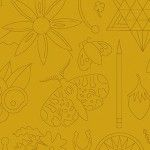 Alison Glass 2020 Sunprint Range Embroidery Yarrow, drawn designs in ochre, Bright Quilting