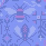 Alison Glass 2020 Sunprint Range Menagerie Opal, cross stitch effect in lavender and pink, Bright Quilting
