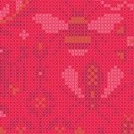 Alison Glass 2020 Sunprint Range Menagerie Salmon, cross stitch effect in cerise and pink, Bright Quilting