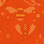 Alison Glass 2020 Sunprint Range Menagerie Tiger, cross stitch effect in orange, Bright Quilting