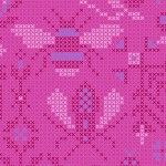 Alison Glass 2020 Sunprint Range Menagerie Dahlia, cross stitch effect in pink and blue, Bright Quilting