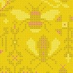 Alison Glass 2020 Sunprint Range Menagerie Pencil, cross stitch effect in yellow and pink, Bright Quilting