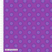 Craft Cotton Makoti Purple Circles Fabric, Bright Quilting