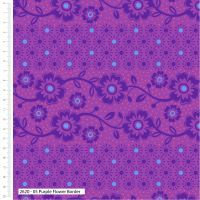 Craft Cotton Makoti Purple Flower Border Fabric, Bright Quilting