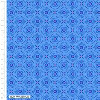 Craft Cotton Makoti Blue Geo Circle Fabric, Bright Quilting
