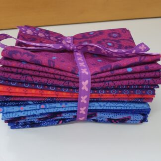 Bundle of 10 fat quarters of the Makoti range in purples, orange and blues