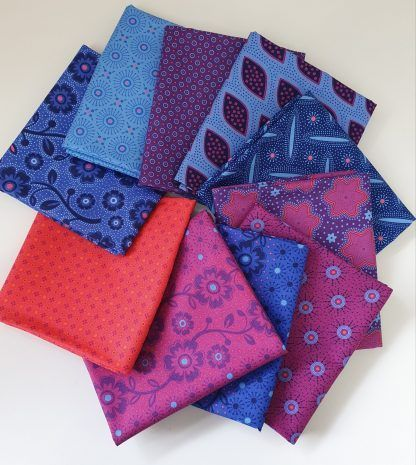 Bundle of 10 fat quarters of the Makoti range in purples, orange and blues, Bright Quilting
