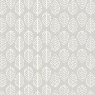 Makower Essentials Leaf White on Pewter fabric, Bright Quilting