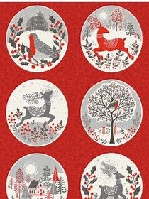 Makower Scandi Christmas Red Circle Panel fabric, Bright Quilting