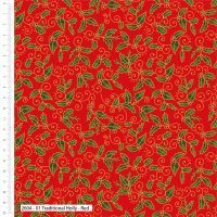 Craft Cotton Green Holly on Red Fabric, Bright Quilting