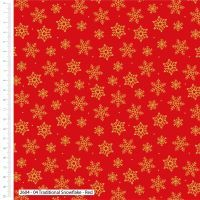 Craft Cotton Gold Snowflakes on Red Fabric, Bright Quilting