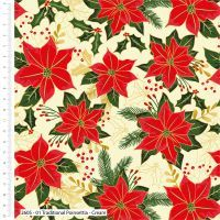 Craft Cotton Poinsettia on Cream Fabric, Bright Quilting