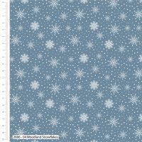 Craft Cotton Silver Snowflakes on blue Fabric, Bright Quilting