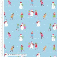 Craft Cotton Snowmen on blue Fabric, Bright Quilting