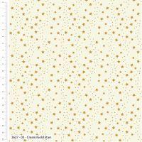 Craft Cotton Metallic Stars on Cream Fabric, Bright Quilting