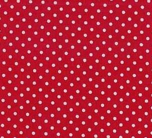 Makower Spot on Range. White spots on a bright red background. Bright Quilting
