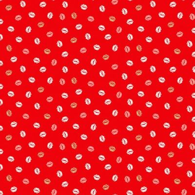 Makower Pamper Fabric Range - Red, Pink and Grey Lips on Red Fabric Bright Quilting