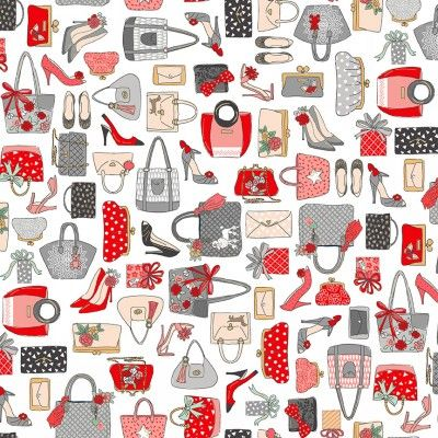 Makower Pamper Fabric Range - Handbags in Red, Pink and Grey on White Fabric Bright Quilting