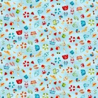 Makower Beside The Sea - Icon Scatter on Light Blue Fabric Bright Quilting
