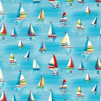 Makower Beside The Sea - Sailboats on Sky Blue Fabric Bright Quilting
