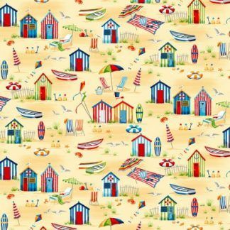 Makower Beside The Sea -Beach Hut Scene on Yellow Fabric Bright Quilting