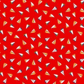 Makower Beside The Sea - Mini Boats on Red Fabric Bright Quilting