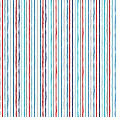Makower Beside The Sea -Chalky Stripe on White Fabric Bright Quilting