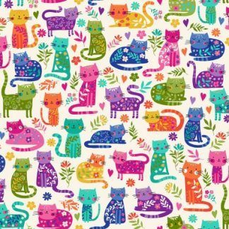 Makower Katie's Cats Range - Multicoloured Cats on Cream Fabric Bright Quilting