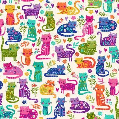 Makower Katie's Cats Range - Multicoloured Cats on Cream Fabric Bright Quilting