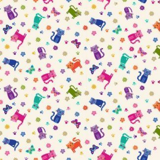 Makower Katie's Cats Range - Scattered Multicoloured Cats on Cream Fabric Bright Quilting