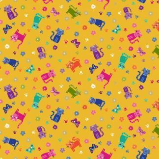 Makower Katie's Cats Range - Scattered Multicoloured Cats on yellow Fabric Bright Quilting