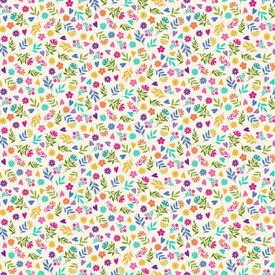Makower Katie's Cats Range - Multicoloured Ditzy Flowers on Cream Fabric Bright Quilting