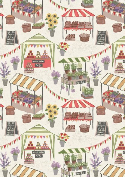 Lewis and Irene Farmers Market Farmers Market on Light Cream Fabric Bright Quilting