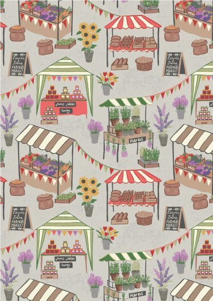Lewis and Irene Farmers Market Farmers Market on Light Grey Fabric Bright Quilting