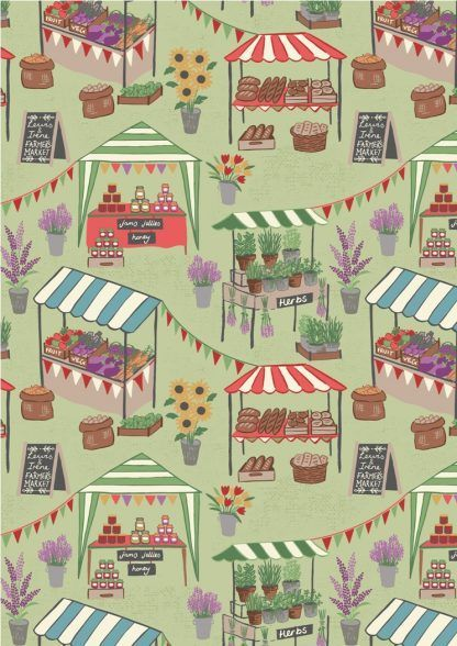 Lewis and Irene Farmers Market Farmers Market on Light Green Fabric Bright Quilting