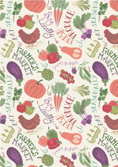 Lewis and Irene Farmers Market Vegetables on Light Cream Fabric Bright Quilting