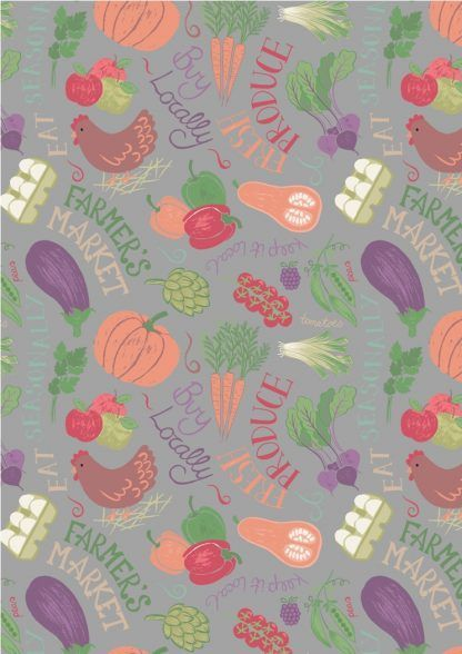 Lewis and Irene Farmers Market Vegetables on Grey Fabric Bright Quilting