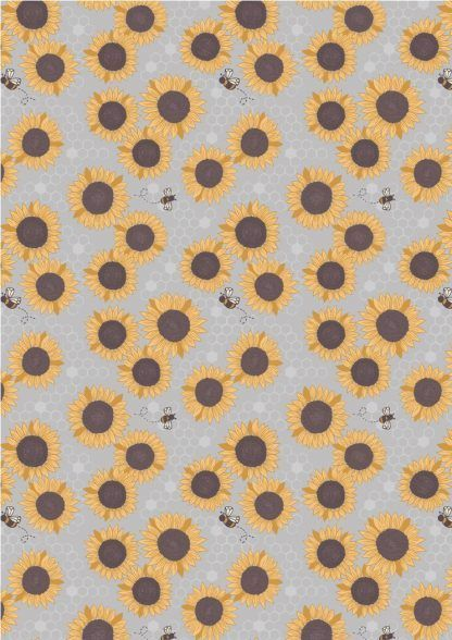 Lewis and Irene Farmers Market Sunflowers on Grey Fabric Bright Quilting