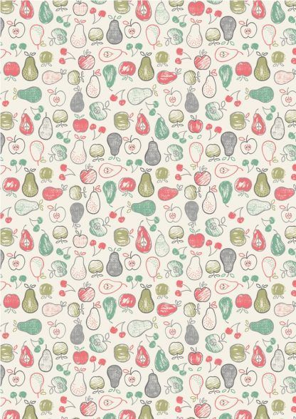 Lewis and Irene Farmers Market Fruit on Light Cream Fabric Bright Quilting