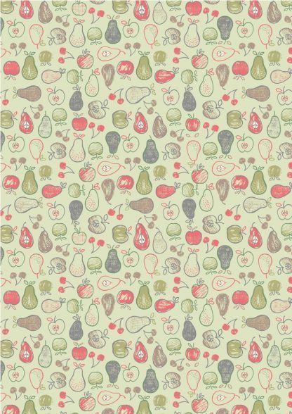 Lewis and Irene Farmers Market Fruit on Light Green Fabric Bright Quilting